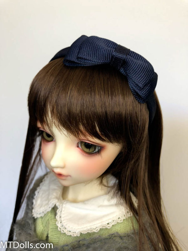 BJD DD Headband Maria with large bow in Navy Blue
