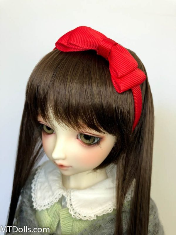BJD DD Headband Maria with large bow in Red