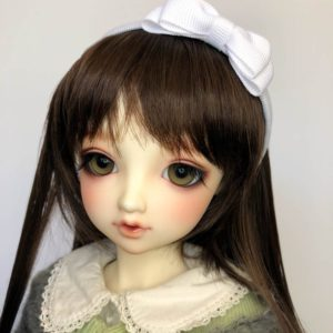 BJD DD Headband Maria with large bow in White