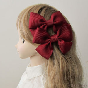 Large Barrette Bow Pair in Bordeaux