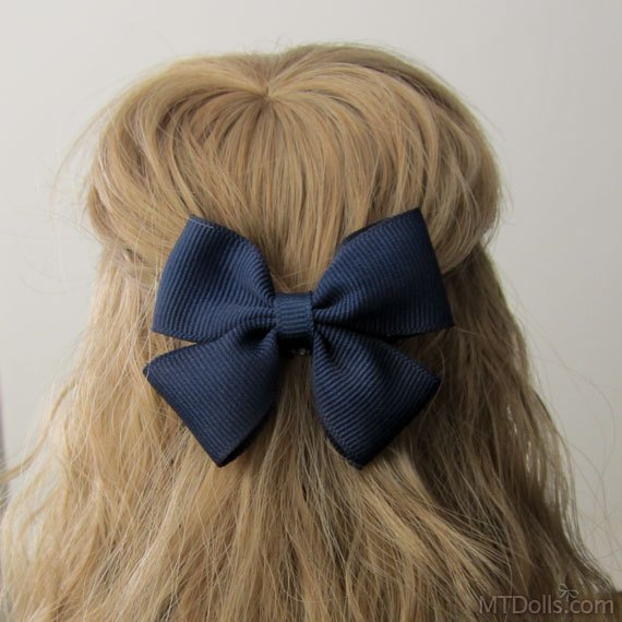 Large Bow Hair Clip in Navy Blue