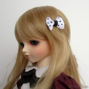 Mini Bow Hair Clips in White Polkadot