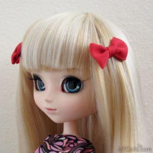 Pullip BJD Mini Bow Hair Clips in Red