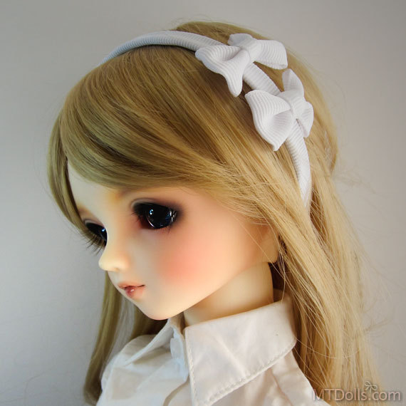 SD DD Double Bow Headband in White