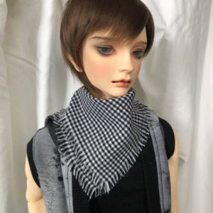 SD SD13 SD17 Square Checked BJD Scarf / Muffler in Black